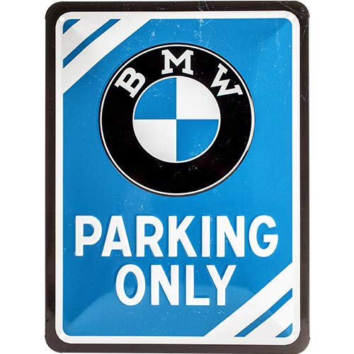 Nostalgic-Art BMW – Parking Only Blue – Geschenk-Idee für Auto Zubehör Fans, Retro Blechschild, aus Metall, Vintage-Design zur Dekoration, 15 x 20 cm