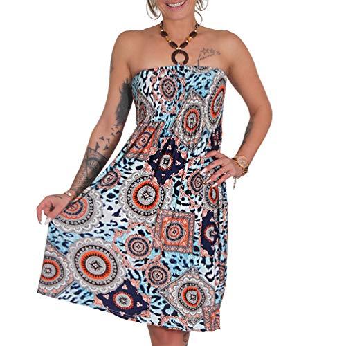 Neckholder Sommer Bandeau Kleid Holz-Perlen Damen Strandkleid Tuchkleid Tuch Aztec (42 Blau)