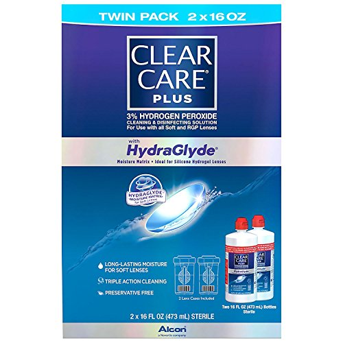 Clear Care Plus with Hydraglyde Cleaning & Disinfecting Solution Twin Pack with 2 Lens Cases Included 16 oz