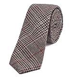DonDon Corbata estrecha de algodón para hombres de 6 cm - rojo oscuro negro marrón a cuadros