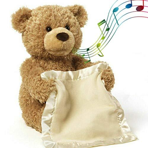 Regalo Ideal para ni/ños Dreamsdox Peek A Boo Teddy Bear Mu/ñeco de Peluche Toy Plush Toy Doll Bear con funci/ón de m/úsica