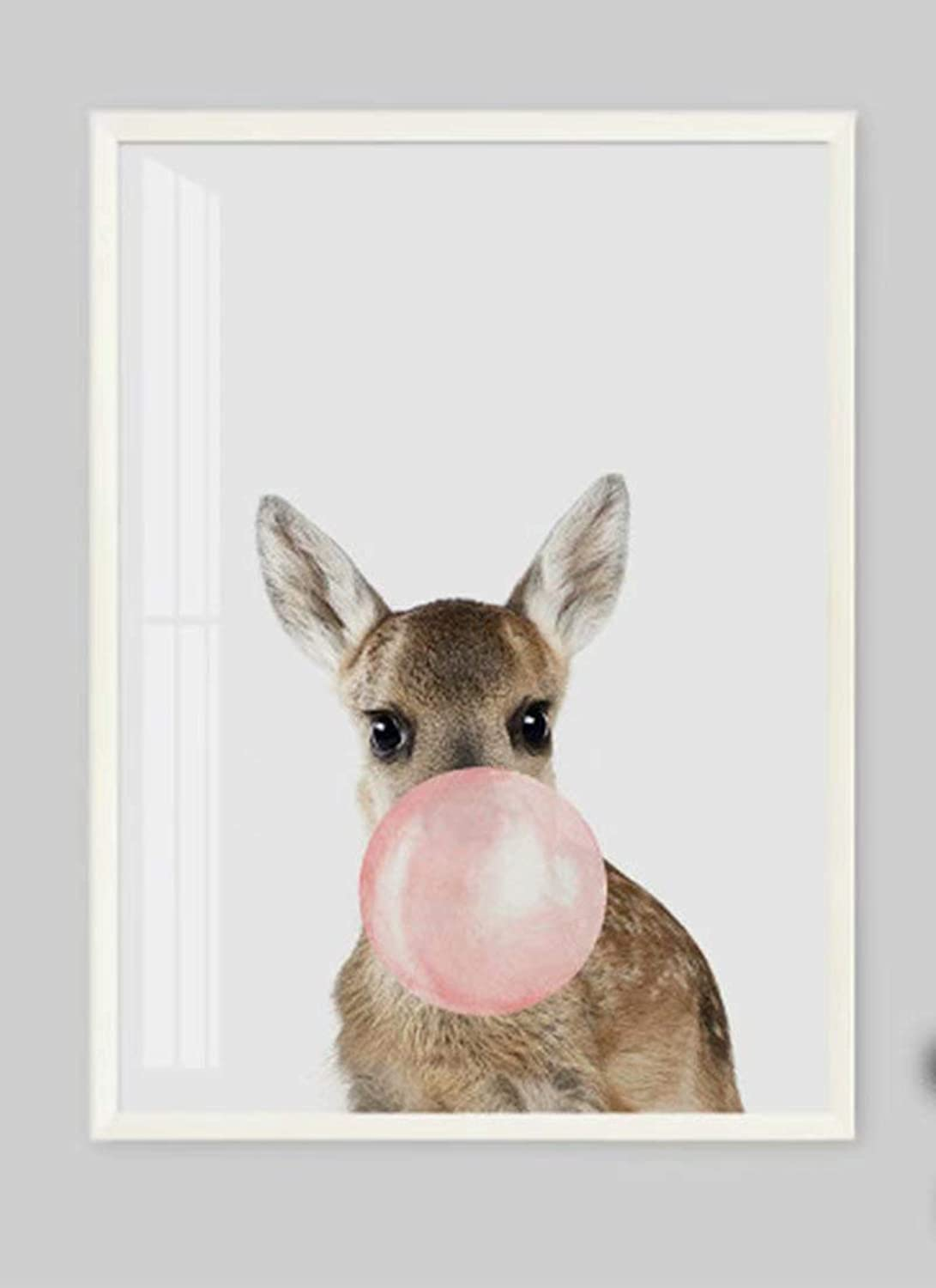 DIY Oil Painting Paintworks Paint by Number for Kids and Adults Deer Blowing Bubble 16x20 Inch,with Wooden Frame