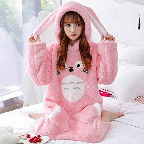 HUANSUN Camisón de Franela para Mujer Pijamas de Felpa Gruesos de Invierno con Capucha Pijamas Largos Pijamas de niña Linda Servicio a Domicilio Suave, Totoro Pink Hooded, M