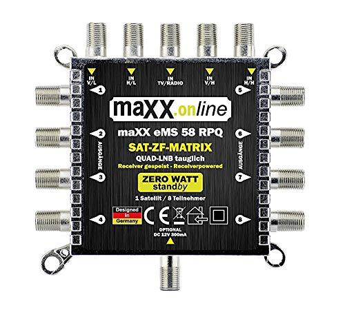 maxx.onLine eMS 58 RPQ 5 in 8 Multischalter für 8 Teilnehmer, kein Netzteil notwendig, 0 Watt Standby Multiswitch , Quad- und Quattro LNB kompatibel [Digital, HDTV, FullHD, 4K, UHD]