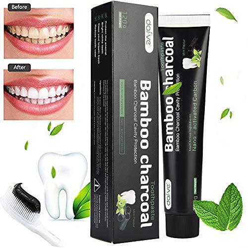 99AMZ Dientes de carbón activado que blanquean la crema dental sabor a menta negro natural a base de hierbas Oral Tiras blanqueadoras de dientes Professional Cuidado bucal Aliento fresco (Negro)