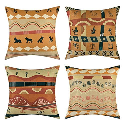 Bateruni - Set di 4 federe per cuscino, in cotone e lino, stile antico egiziano, stile retrò, africano, per divano, soggiorno, 45 x 45 cm