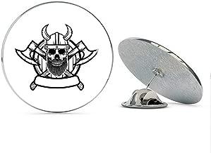 BRK Studio Cool Viking Warrior Soldier with Horn Helmet and Axes Cartoon Round Metal 0.75
