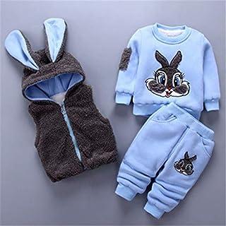 مجموعات الملابس - أزياء جديدة للبنات والأولاد ملابس الشتاء القطن الكرتون الأرنب فيست + بلوزة + بنطلون 3 قطع رداء بغطاء رأس...