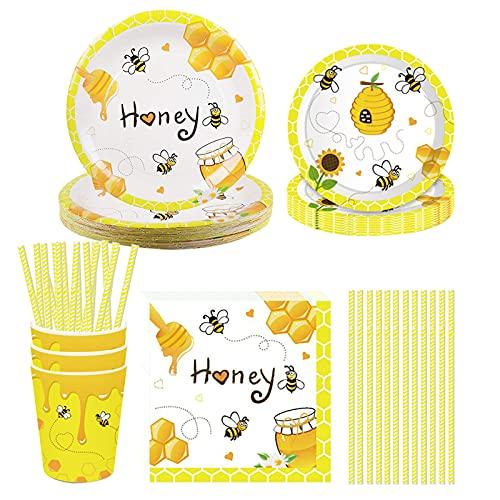 Baipin Juego de vajilla de cumpleaños de 113 piezas, diseño de abeja para niños, incluye platos, cuchillos, cucharas, tenedores, vasos de papel, servilletas, color negro y amarillo