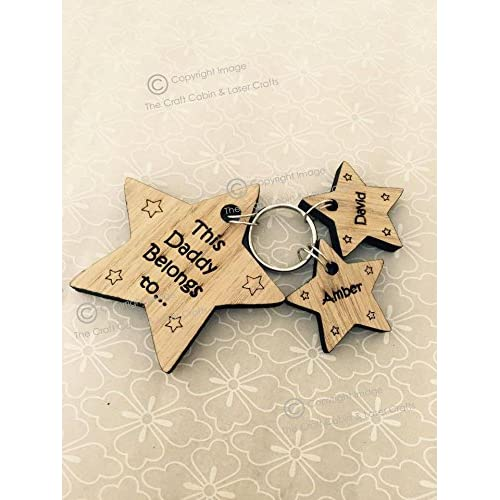 The Craft Cabin Fathers Day Mother's Day Personalised Wooden Star Keyring; Family Design, Dad