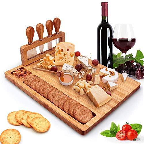 Juego de tabla de queso de bambú y cuchillos, charcutería de queso, bandeja para servir con cajón deslizante para galletas de vino y carne Brie