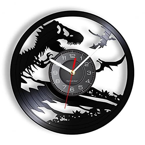 Dinosaurio Monstruo de dibujos animados de vinilo Lp Reloj de pared de registro Maravillosa leyenda Reloj silencioso Habitación de los niños Gran ventilador de terópodo Decoración del hogar sin LED