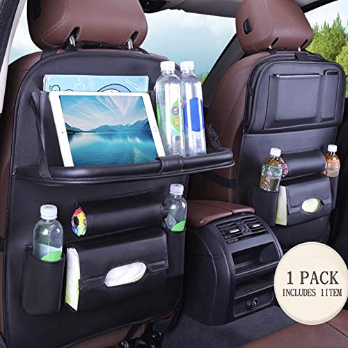 PU Leather Premium Car BackSeat Organizer Travel Accessories, BackSeat Car Organizer Seat Protector/Kick mats Back seat Protector and Cup Hold 1 Pack