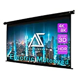 Akia Screens 110 inch Motorized Electric Remote Controlled Drop Down Projector Screen 16:9 8K 4K HD 3D Retractable Ceiling Wall Mount Black Projection Screen Office Home Theater Movie AK-MOTORIZE110H1