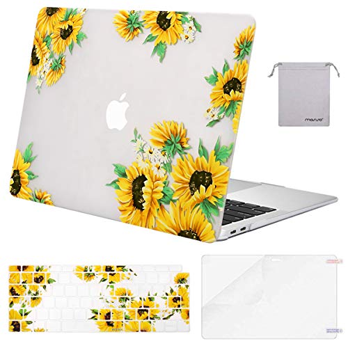 MOSISO MacBook Air 13 inch Case 2020 2019 2018 A2337 M1 A2179 A1932, Plastic Hard Shell&Keyboard Cover&Screen Protector&Storage Bag Compatible with MacBook Air 13 inch Retina, Sunflower Clear Base