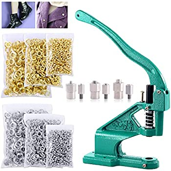 Keadic Hand Press Grommet Machine with 3 Die #0#2#4 and 3000 Pieces Grommets Eyelets Silver & Golden for Banners Signs Awnings Posters Curtains Digital Printing Corsets Belts Bags Shoes
