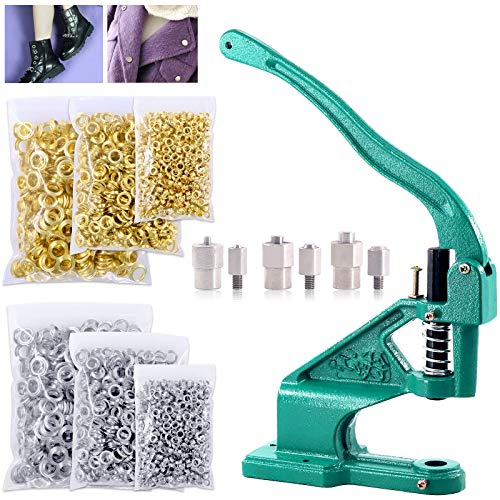 Keadic Hand Press Grommet Machine with 3 Die #0#2#4 and 3000 Pieces Grommets Eyelets Silver & Golden, for Banners, Signs, Awnings, Posters, Curtains, Digital Printing, Corsets, Belts, Bags, Shoes