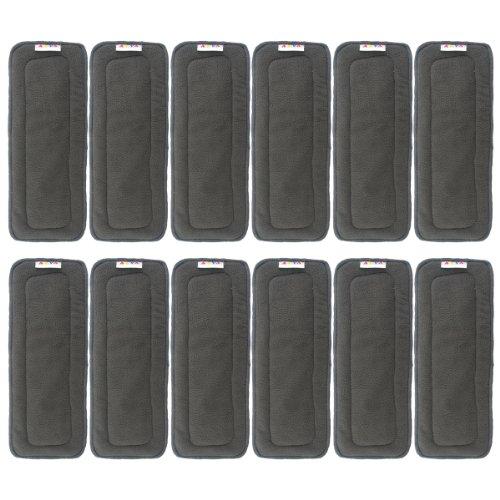 Insertos de tela de carbón de bambú, para pañales de tela, 5 capas, con refuerzos, de Alva Baby 5 layers charcoal bamboo liners Talla:All in one