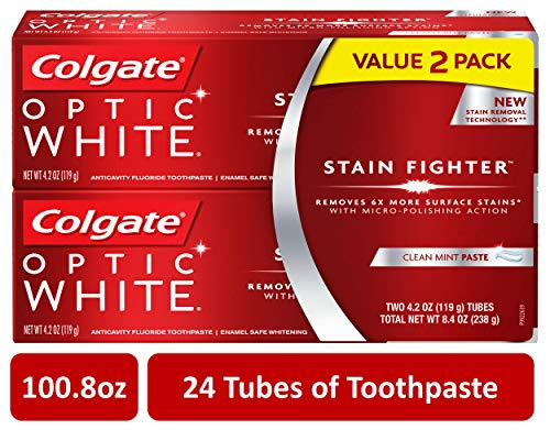 Colgate Optic White Stain Fighter Whitening Toothpaste - 4.2 ounce (24 Tubes)