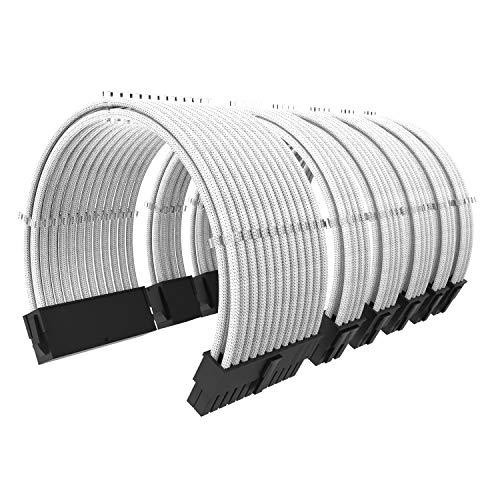 ABNO1 PSU Kabelverlängerung für Stromversorgung 30CM Länge mit Kabelkämmen Verlängerungskabel Kit 24-pin 8-pin 6-pin Sleeved Cable-Weiß