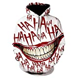 Halloween Disfraz De Sudaderas con Capucha De Halloween para Hombre/Mujer, Ropa De Moda De Invierno para Hombre, Sudadera De Manga Larga con Estampado 3D De Joker, Chaqueta Negra