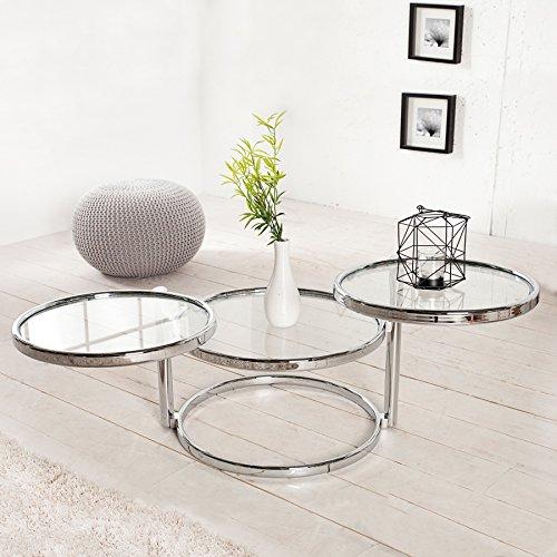 CAGÜ - Art Deco Design 3 EBEBEN BEISTELLTISCH [SATURNUS] Chrom & Glas DREHBAR 55cm-155cm