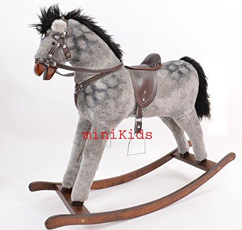 Mini Kids Dapple Grey Cheval à Bascule en Bois et Peluche Rocking Horse