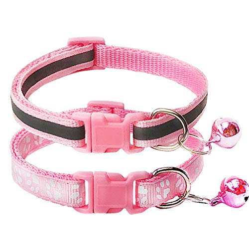 CHBORCHICEN 2-Pack Footprint & Reflective Cat Collar with Bell Basic Dog Cat Collar Buckle Adjustable Polyester Cat Dog Collar or Seatbelts (X-Small, Pink)