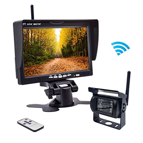 Wireless Backup Camera,Rear View Camera and Monitor Kit Waterproof Parking Assistance System for Car/Truck /Mini Van/Caravan / Trailers/Camper with 7