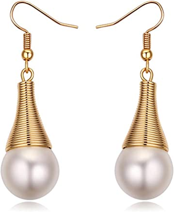 KRYSTAL COUTURE Cleopatra Earring Featuring Pearl From Swarovski Pearl White 18K Gold Plated Unique Jewellery for Women