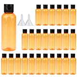Travel Bottles ,3oz Plastic Small Squeeze Bottles Leak Proof Silicone Travel Size Containers With Flip Cap and Funnels(26Pack, Orange)