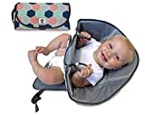 SnoofyBee Portable Clean Hands Changing Pad. 3-in-1 Diaper Clutch, Changing Station, and Diaper-Time Playmat with Redirection Barrier for Use with Infants, Babies and Toddlers (Hexagon)