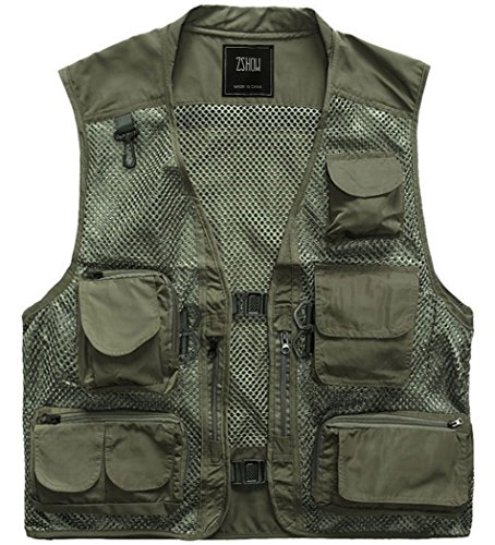 ZSHOW Men's Outdoor Quick Dry Research Vest Traveling Bicycle Waistcoat(Green,X-Large)