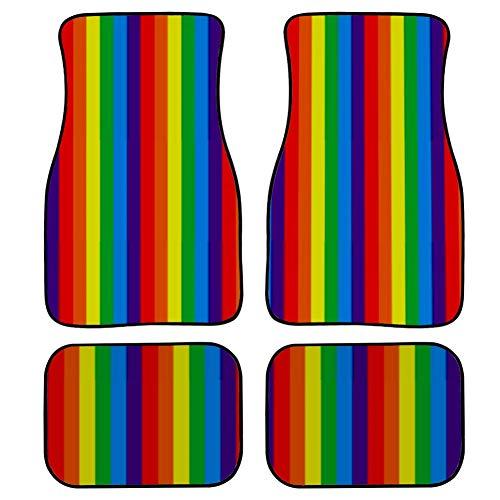 LYAOE Carpet Floor Mats Pride Stripes Rainbow Symbol Gay Lesbian Automotive Floor Mats Car Universal-fit Front & Rear Carpet Floor Mats 4pc Set