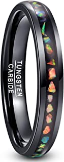 4mm/8mm Colorful Opal Inlay Tungsten Ring Black Wedding Band Engagement Ring for Men Women Comfort Fit Size 5-12