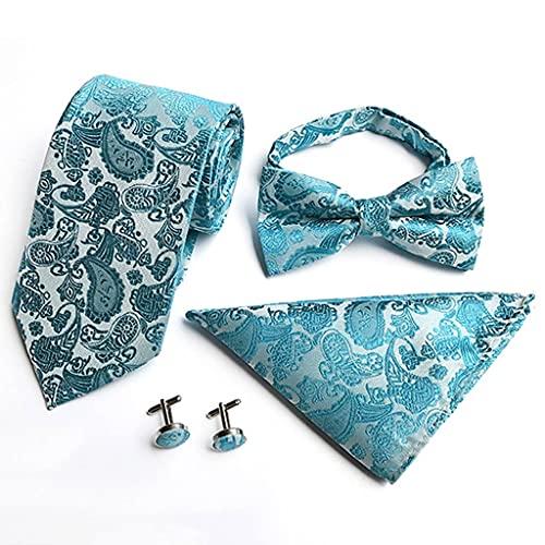 YUTRD ZCJUX Moda Cintura Flor Corbata para Hombre Toalla de Bolsillo Pajarita Gemelos 4 Juegos Vestido de Negocios Accesorios para Corbata de Boda Trajes para Hombres Conjuntos de Corbata (Color : C)