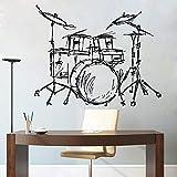 hetingyue Jazz Drum Silhouette Pintura de Pared hogar Sala de Estar Moda Instrumento Musical Decorativo batería Set Etiqueta de la Pared Set Wallpaper 75x82cm