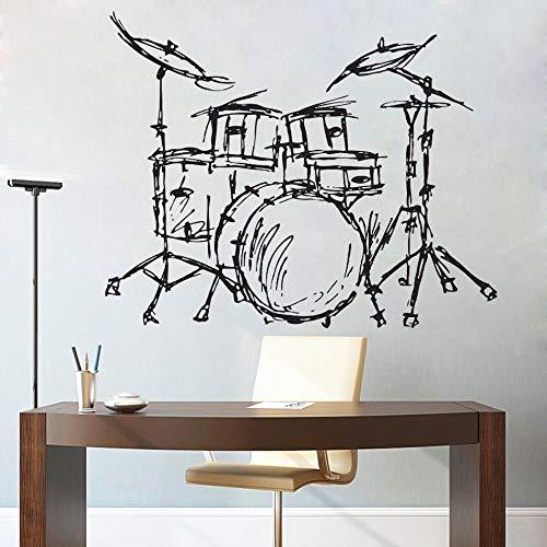 hetingyue Jazz Drum Silhouet muurschildering Home woonkamer mode decoratief muziekinstrument trommel set kwaliteit muursticker set behang