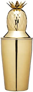 BarCraft BCCSPAPL Pineapple Cocktail Shaker with Recipe, Stainless Steel, 325 ml, Brass-Effect