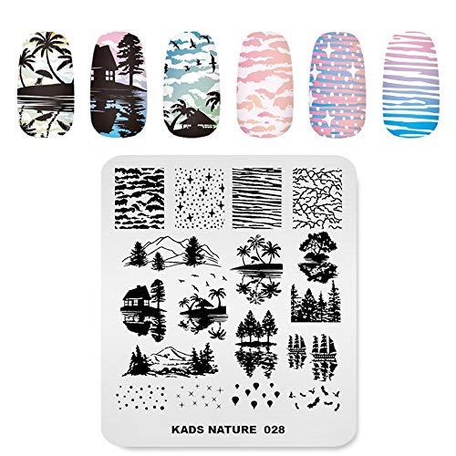 KADS Nagelstempelplatte Pusteblume Gras Natur Schablone Bild Design Plates für Nail Art Dekoration und DIY Nail Art