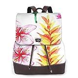 SGSKJ Rucksack Damen Tropische Sommerpflanzen, Leder Rucksack Damen 13 Inch Laptop Rucksack Frauen Leder Schultasche Casual Daypack Schulrucksäcke Tasche Schulranzen
