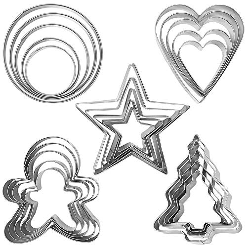 Orapink - Set di 25 formine per biscotti natalizi a forma di pan di zenzero, albero di Natale, stella, cuore, in acciaio inox