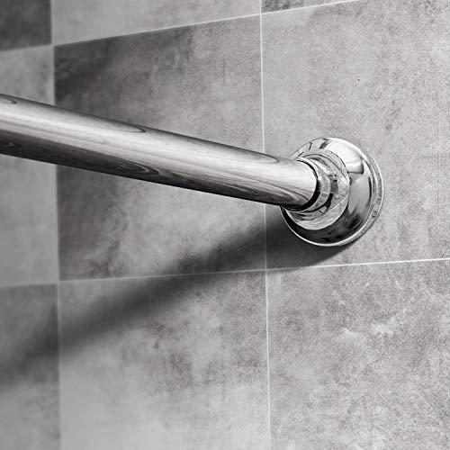 Dmore Duschvorhangstange Edelstahl ohne Bohren 110-200 cm, Duschstange Ausziehbar für Dusche und Badewanne, Silber