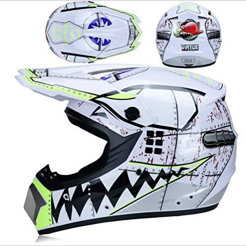 JWL Motocross Racing Helmet Mountainbike-Helm licht met bril, masker en handschoenen (witte haai