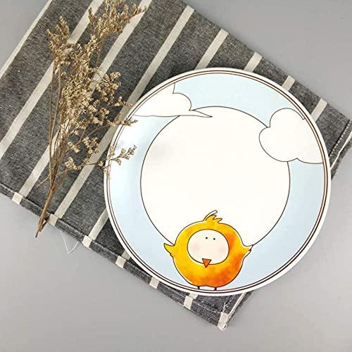 XQMY Dibujos Animados creativos Restaurante nórdico Plato de Carne Pastel Plato de Postre Desayuno Plato de cerámica Angry Birds 8 Pulgadas