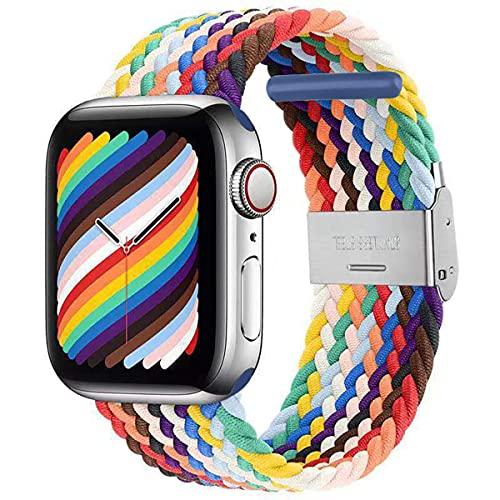 ANCEER Compatible con Apple Watch iWatch, pulsera de 42 mm, 44 mm, 40 mm, 38 mm, correa deportiva trenzada ajustable con hebillas, para iWatch Serie 6/SE/5/4/3/2/1., 38/40MM,