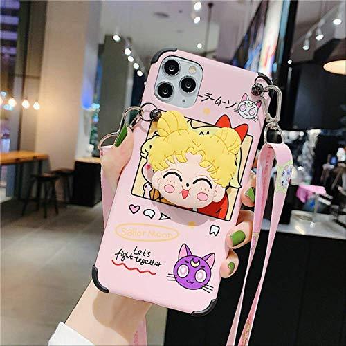 Carcasa de teléfono con cordón de Correa de Hombro de Sailor Moon de Dibujos Animados para iPhone 12 12Mini 11 Pro XS MAX SE XRX7 8 Plus Funda de Soporte de Soporte para iPhone 7 Rosa