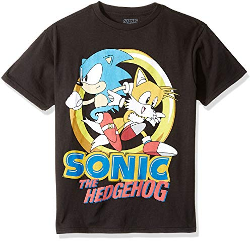 SEGA Boys' Little Sonic The Hedgehog & Tails Short Sleeve Tshirt, Black, 5/6
