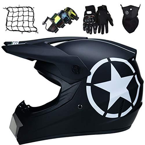 Casco Profesional de Motocross, Casco de Descenso, Casco Integral de MTB para Adultos y Niños con Gafas/Guantes/Máscaras/Red Elástica - Aprobado DOT/ECE - Estrella Negra