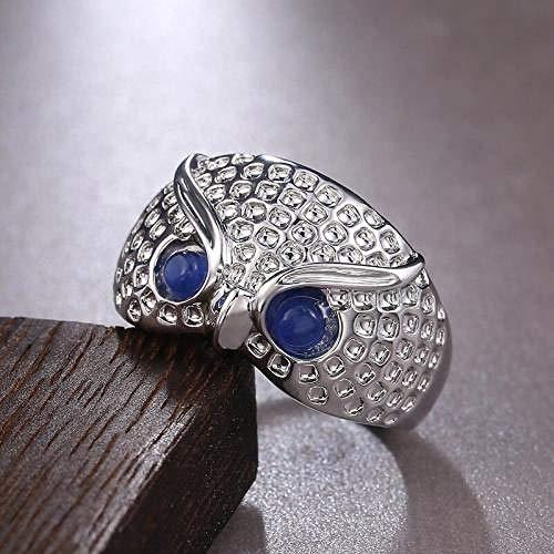 MMYY Anillo de plata de ley 925 con diseño de búho, anillo de dedo con ojos de ópalo de imitación azul, joyería de animales, accesorios de personalidad, regalo para mujer-9